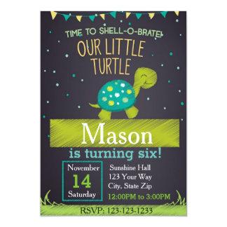 Invitation d'anniversaire de tortue (vert)