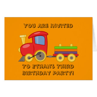 Invitation d'anniversaire du train de l'enfant