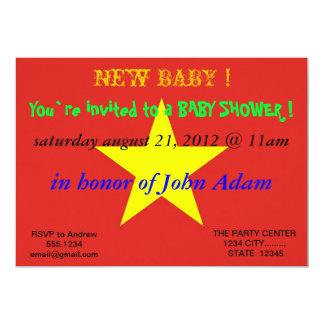 Invitation de baby shower avec le drapeau du