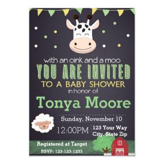 Invitation de baby shower d'animal de ferme