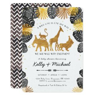 Invitation de baby shower d'animaux de safari