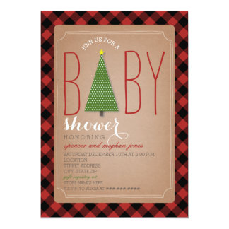 Invitation de baby shower d'arbre de Noël - plaid