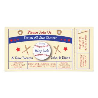 Invitation de baby shower de billet de base-ball