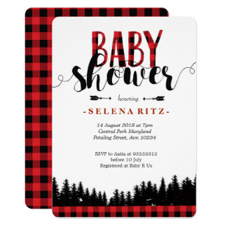 Invitation de baby shower de bûcheron de forêt
