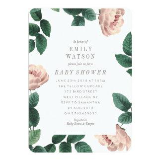 Invitation de baby shower de cadre de fleur rose