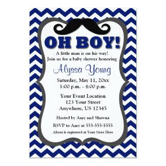 Invitation de baby shower de Chevron de bleu