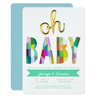 Invitation de baby shower de couleur