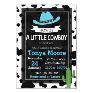 Invitation de baby shower de cowboy (bleue)