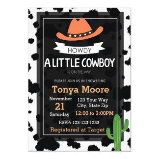 Invitation de baby shower de cowboy (orange)