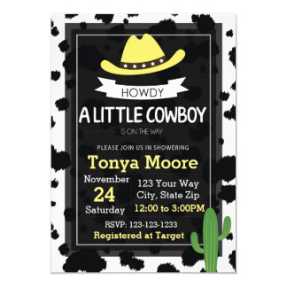 Invitation de baby shower de cowboy ou de cow-girl