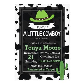 Invitation de baby shower de cowboy (vert)