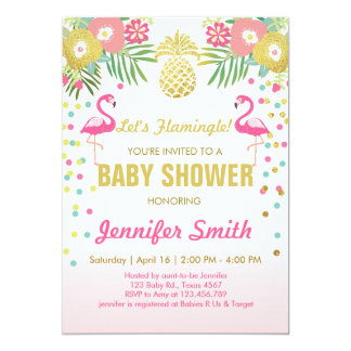 Invitation de baby shower de flamant tropicale