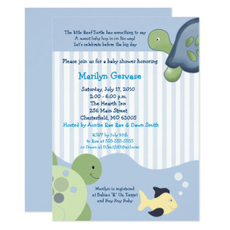 Invitation de baby shower de garçon de la tortue