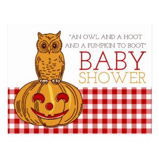 Invitation de baby shower de hibou et de guingan