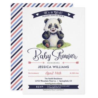 Invitation de baby shower de panda de fille