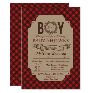 Invitation de baby shower de plaid de garçon de