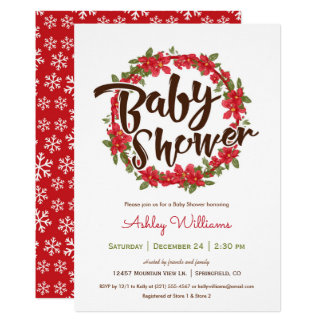 Invitation de baby shower de poinsettia