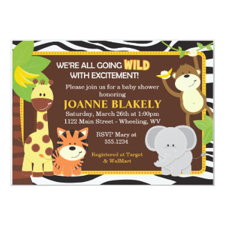Invitation de baby shower de safari de jungle