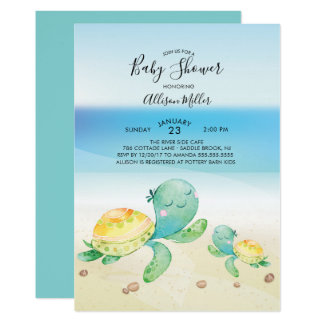 Invitation de baby shower de tortue de mer