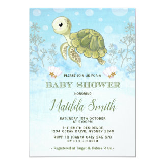 Invitation de baby shower de tortue sous l'océan