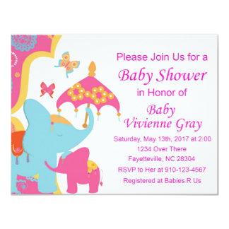 Invitation de baby shower d'éléphant asiatique