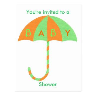 Invitation de baby shower, parapluie vert orange