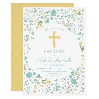 Invitation de baptême - croix neutre de genre,