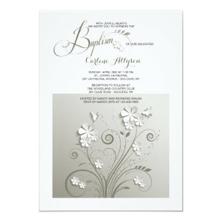 Invitation de baptême de fleurs de papier