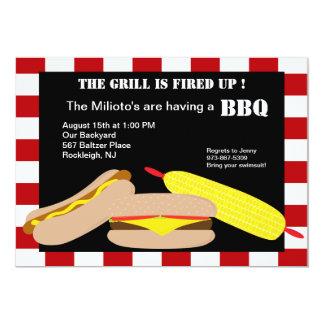 Invitation de barbecue d'hamburger et de hot dog