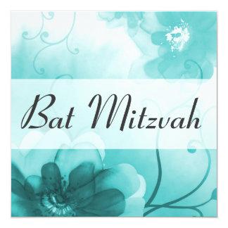 Invitation de bat mitzvah de bleu Cerulean Carton D'invitation 13,33 Cm