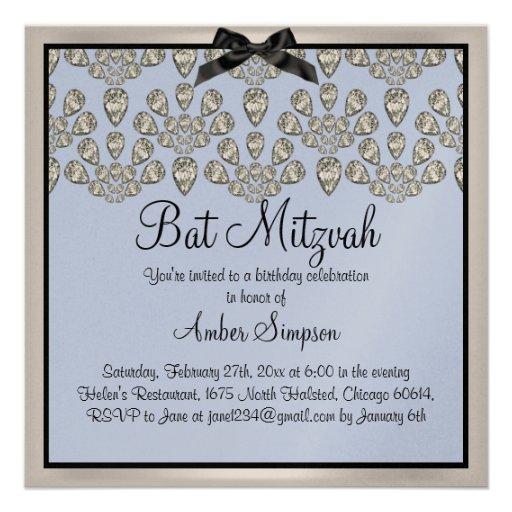 Invitation de bat mitzvah de diamants d'argent/ble