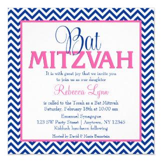 Invitation de bat mitzvah de rose de bleu marine