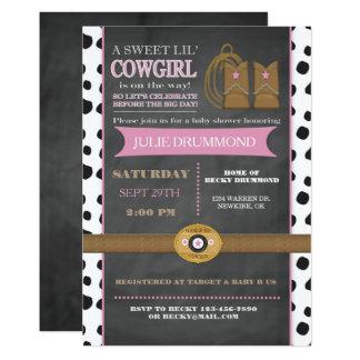 Invitation de bébé de tableau de cow-girl dans le