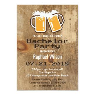 Invitation de bière de pixel et en bois fraîche