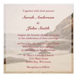 Invitation de carré de mariage de plage - plage