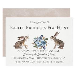 Invitation de chasse à oeufs de brunch de Pâques