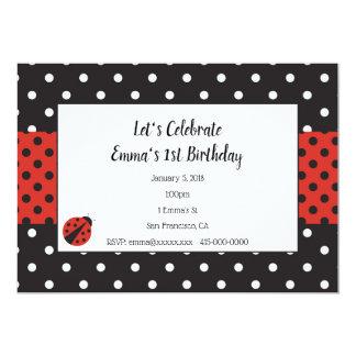 Invitation de coccinelle pour l'anniversaire ou le