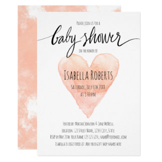 Invitation de corail de baby shower de typographie