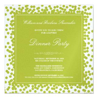 Invitation de dîner de confettis de vert de chaux
