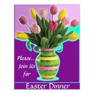 Invitation de dîner de tulipes de Pâques