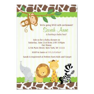 Invitation de douche de bébé de jungle de safari