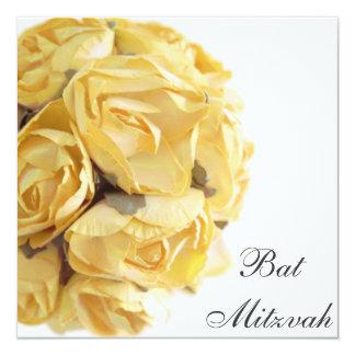 Invitation de fantaisie de bat mitzvah de roses carton d'invitation  13,33 cm