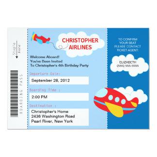 Invitation de fête d'anniversaire d'avion de carte