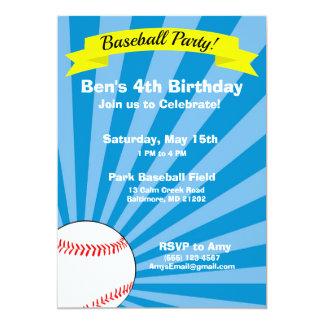 Invitation de fête d'anniversaire de base-ball