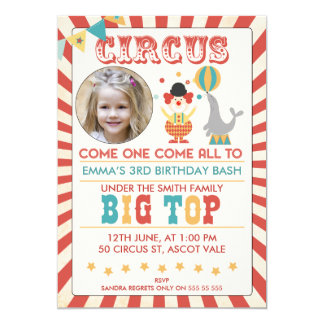 Invitation de fête d'anniversaire de cirque de