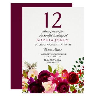 Invitation de fête d'anniversaire de fleurs de