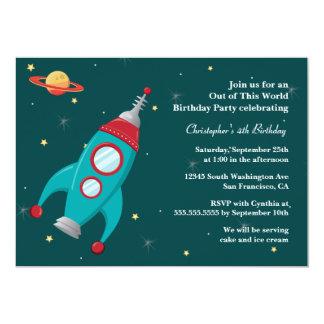 Invitation de fête d'anniversaire de fusée