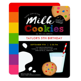 Invitation de fête d'anniversaire de lait et