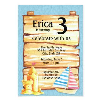 Invitation de fête d'anniversaire de pâté de sable