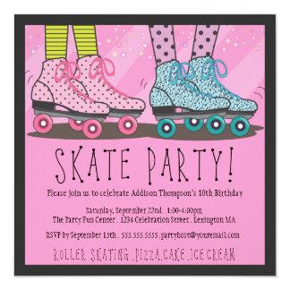 Invitation de fête d'anniversaire de patinage de